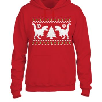 Funny Ugly Christmas T-Rex Sweater - UNISEX HOODIE