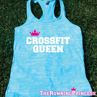 Crossfit Queen Burnout Tank top.Womens crossfit tank.Funny exercise tank.Running tank top. Bootcamp tank.Sexy Gym Clothing