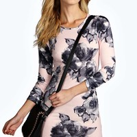Holly Large Floral Curved Hem Bodycon Dress