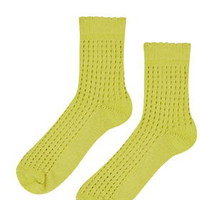 Airtex Stitch Ankle Socks - Chartreuse