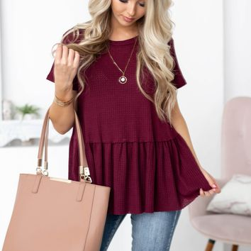 Thermal Babydoll Solid Top | wine