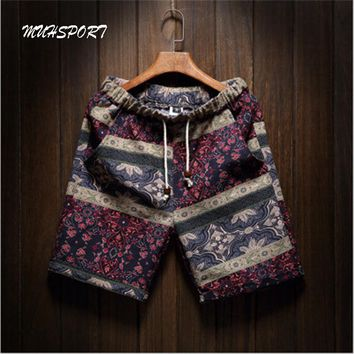 Men's Running shorts personality printing 2018 summer thin section breathable comfort  men's linen shorts large size M-5XL