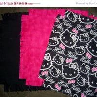 "Hello Kitty fabric flannel rag quilt kit die cut fringed squares batting 45.5""x58.5 quilting sewing"