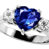 Star K 8mm Heart Shape Created Sapphire Ring