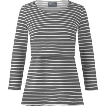 Striped 3/4 sleeve nursing top
