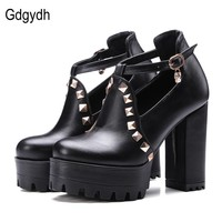 Gdgydh 2017 New Spring Buckle Casual Shoes Women High Heels Fashion Rivets Platform Russian Ladies Shoes Crystal Big Size 43