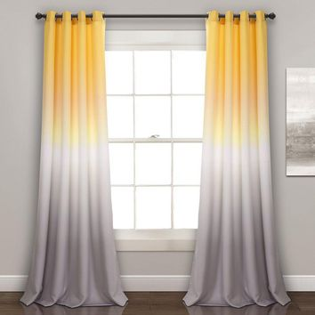 Yellow Grey Ombre Room Darkening Window Curtains