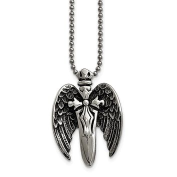 Stainless Steel Polished with Brushed Back Antiqued Winged Sword Necklace 22in