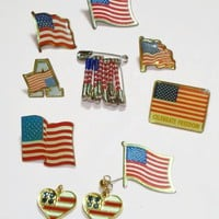 Vintage Americana Pin Lot with Swarovski Crystal Earrings - 10 Piece Lot