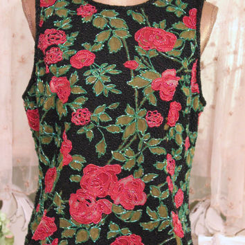 """1970s Beaded Rose Top, Silk Floral Shirt, 70s Bohemian Blouse, Excellent Condition, 40"""" Bust Tunic, Elegant Wear, Pink Green Boho Top, Large"""