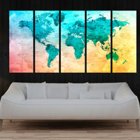 turquoise Push pin world map wall art canvas print, travel map with countries, extra large canvas print, abstract wall art No:9s76