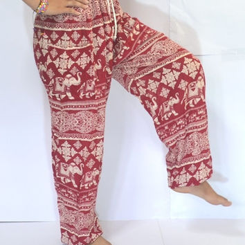Red Elephant Yoga Pants/Harem Pants/Elephant Printed design/Stretch elastic waist/Meditation pant/Maternity pant/Relax pants.