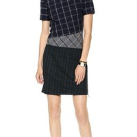 Band of Outsiders Mixed Plaid Short Sleeve Dress
