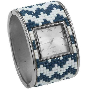 Mosaic Hinged Cuff Watch