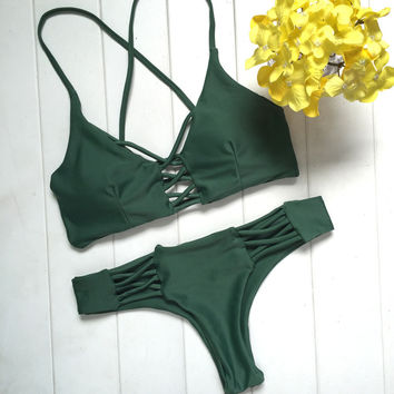 2017 Sexy Women Bikinis Dark Green Thong Bikini Set Strappy Swimwear Swimsuit Brazilian Maillot De Bain Bathing Suit Bequini