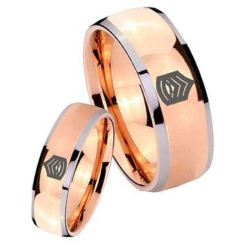 His Hers Rose Gold Dome Army Sergeant Major Two Tone Tungsten Wedding Rings Set