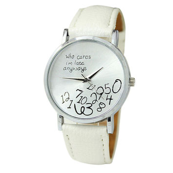"""""""Who Cares I'm Late Anyways"""" Women's White Creative Fashion Faux Leather Quartz Watch"""