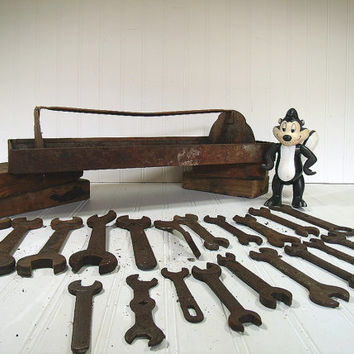 Antique Wrenches Collection of 20 Plus ToolBox - Vintage Gritty Grimy Tools in a Crusty Rusty Metal Tool Chest - Industrial Decor Upcycling