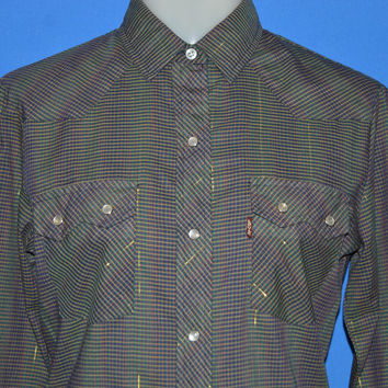 80s Levis Plaid Western Pearl Snap Womens Shirt Size 8