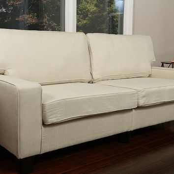 New Century® Linen Contemporary Love Seat Sofa, Ivory