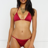 Summer Breeze Swim Bottom - Metallic Ruby