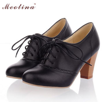 Cheap Shoes Women High Heels Round Toe Lace Up Square Heels Pumps Lace Up Causal Ladies Shoes Black Beige Big Size 41 42