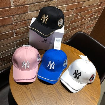 """New York Yankees"" Fashion Casual Simple Solid Color Embroidery Cartoon Dog Letter Cotton Tongue Cap Hat"