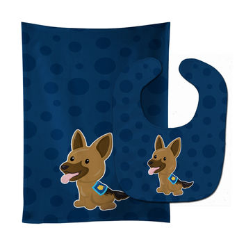 Police German Shepherd Baby Bib & Burp Cloth BB7010STBU