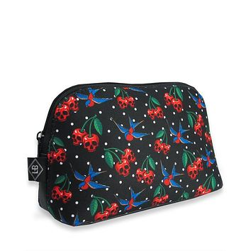 Liquorbrand Skull Cherry and Sparrow Tattoo Art Cosmetic Bag Pouch