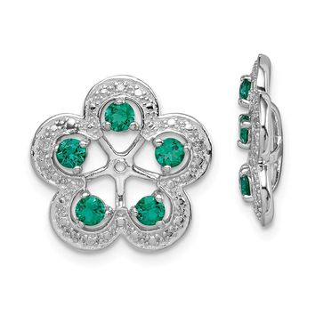 925 Sterling Silver Rhodium Diamond and Created Emerald Earring Jacket