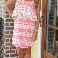 Bangles Boutique — Coral Aztec Dress