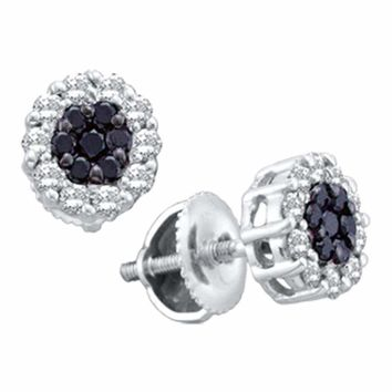 14kt White Gold Women's Round Black Color Enhanced Diamond Flower Cluster Earrings 1.00 Cttw - FREE Shipping (US/CAN)