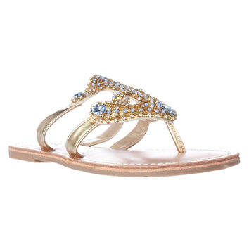 Dolce by Mojo Moxy Ahoy Jeweled Anchor Flat Sandals, Gold, 6 US