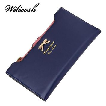 Wilicosh 2017 Fashion PU Women Wallet Multifunctional Long Wallet Vintage Ladies Clutch Thin Cheap Coin Purse Card Holder HB005