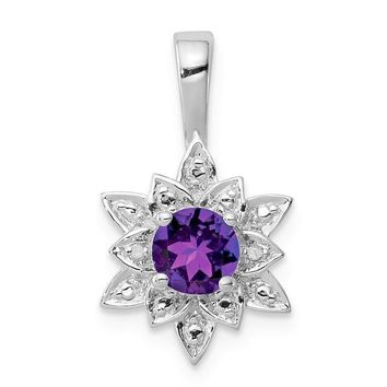 Sterling Silver Round Amethyst and Diamond Flower Pendant