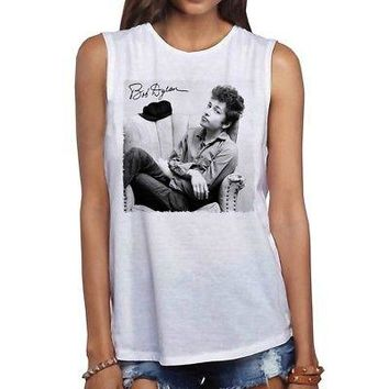 Bob Dylan Chair Photo Licensed Women's Muscle Tank Shirt - White