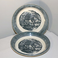 Currier and Ives Pie Plates, Royal China Blue and White Baking Dish, Set of 2 Old Grist Mill
