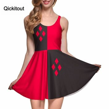 Fashion Women Digital Printing HARLEY QUINN REVERSIBLE SKATER DRESS Vestidos Roupas Femininas Saias