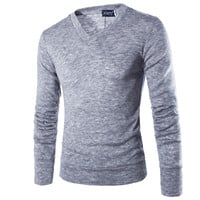 Male Sweater Pullover Men Male Brand Casual Slim Long Sleeve Sweaters Men Pure Plush Hedging V-Neck Men'S Sweater XXL DYEG2