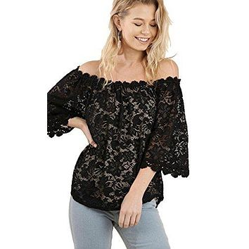 Umgee Women's Solid Color Off Shoulder 3/4 Sleeve Lace Tunic Top With Lining and Crochet Details