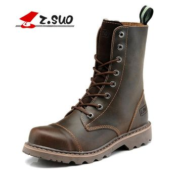 Z.SUO Autumn Mid-Calf Genuine Leather Martin Boots Men England Cowboy Tactical Boots Lace-up Shoes Unisex Desert Boots