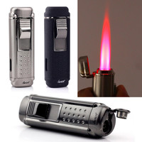 HONEST Fast Shipping W/ Cigar Punch Gadget Cigar Lighter Quadruple Hot Pink Jet Flame Windproof Cigarette Lighter LD-1
