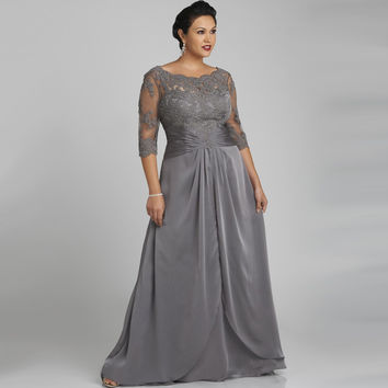 Plus Size Scoop With Lace Three Quarter Sleeve Grey Long Chiffon Evening Dresses LAVELIQ