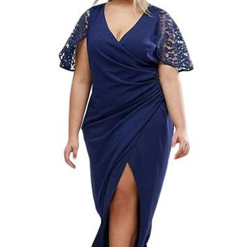 Plus Wrap Front Maxi Dress with Lace Sleeves