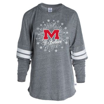 White Official NCAA Ole Miss Rebels Women's Striped Oversized Football Tee