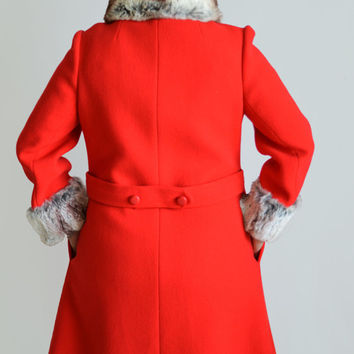 60s Vintage Wool Coat with Rabbit Fur Trim/ Risa Diane/ Jackie O Audrey Hepburn Style