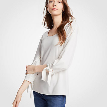 Scoop Neck Tie Sleeve Top | Ann Taylor