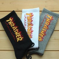3 Pairs Socks Fashion THRASHER Socks Men Women Summer Style Hemp Harajuku Socks