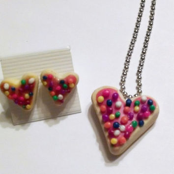 Heart-Shaped Sugar Cookie Necklace & Earring Set, Polymer Clay Food, Valentine's Day
