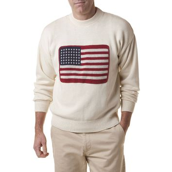 Crew Sweater with Embroidered American Flag in Cream by Castaway Clothing